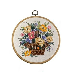 ❤️3/$30 Flowers in wicker basket needlepoint.